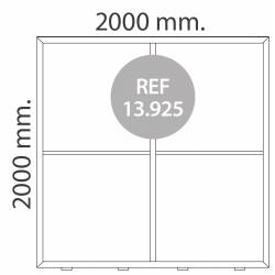 Totem luminoso de 200X200 cm para textil MEDIDAS