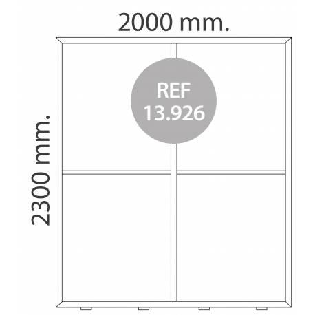 Totem luminoso de 200X230 cm para textil MEDIDAS