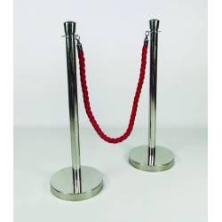 Poste cromado para cordón con remate superior