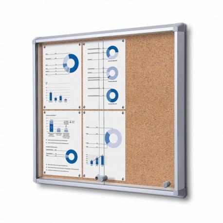 Vitrina puertas correderas para 6 DIN A4 fondo de corcho