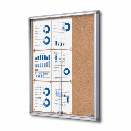 Vitrina puertas correderas para 9 DIN A4 fondo de corcho