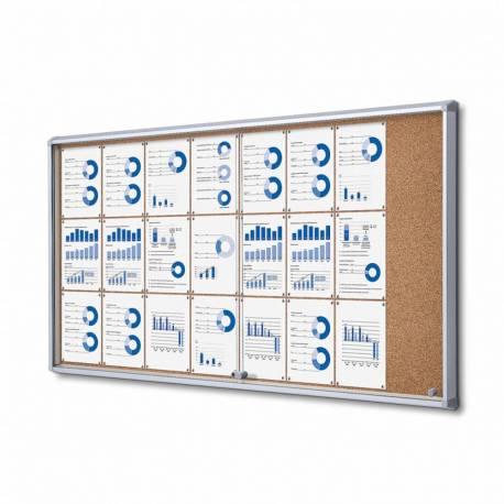 Vitrina puertas correderas para 24 DIN A4 fondo de corcho