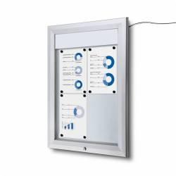 Vitrina para 4 DIN A4 con iluminación LED impermeable e ignífuga