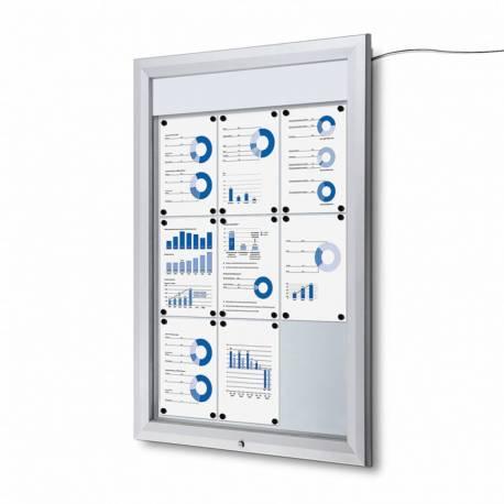 Vitrina para 8 DIN A4 con iluminación LED impermeable e ignífuga