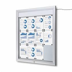 Vitrina para 12 DIN A4 con iluminación LED impermeable e ignífuga