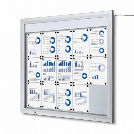 Vitrina para 15 DIN A4 con iluminación LED impermeable e ignífuga