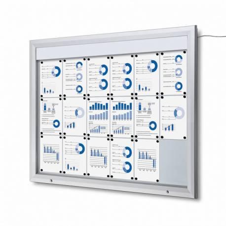 Vitrina para 18 DIN A4 con iluminación LED impermeable e ignífuga