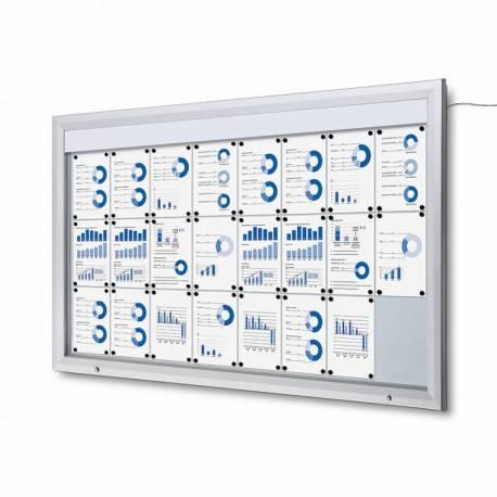 Vitrina para 24 DIN A4 con iluminación LED impermeable e ignífuga