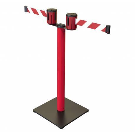 Poste de seguridad doble con cinta de 5 metros