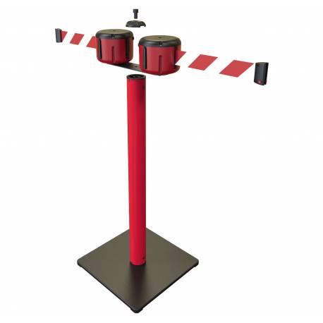 Poste de seguridad doble con cinta de 10 metros