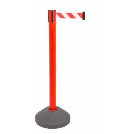 Poste de seguridad con cinta roja y blanca y base rellenable
