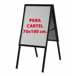 Caballete de aluminio negro para cartel de 70x100 cm