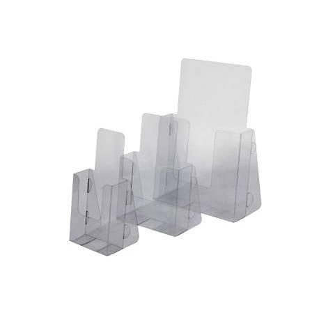 Portafolletos de sobremesa en PVC transparente