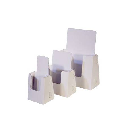 Portafolletos de sobremesa en PVC blanco