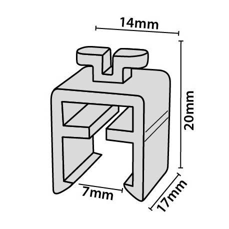 Clip para colgar marcos de perfil de carril