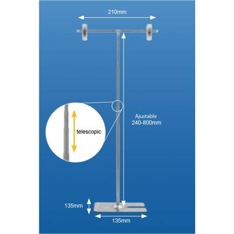 Expositor en T ajustable en altura de 24 a 80 cm