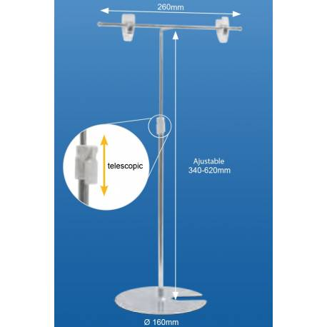 Expositor en T ajustable en altura de 32 a 62 cm