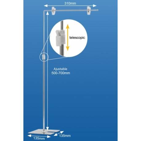 Expositor en L ajustable en altura de 50 a 70 cm