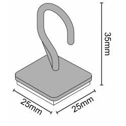 Gancho adhesivo para techo 25x25 mm