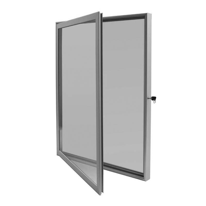 Vitrina para anuncios con marco de aluminio y cerradura lateral.