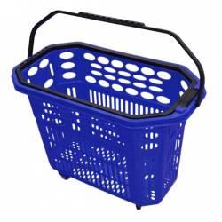 Cesta de compra con ruedas azul