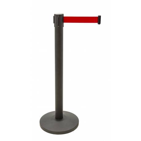 Poste de cinta extensible negro con cinta roja