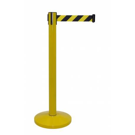 Poste de dinta extensible amarillo con cinta amarillo y negro