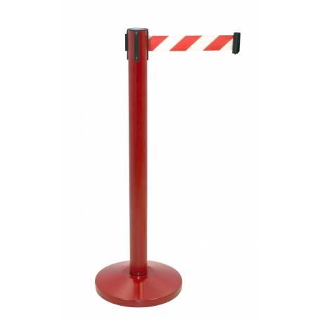 Poste separador rojo con cinta extensible roja y blanca