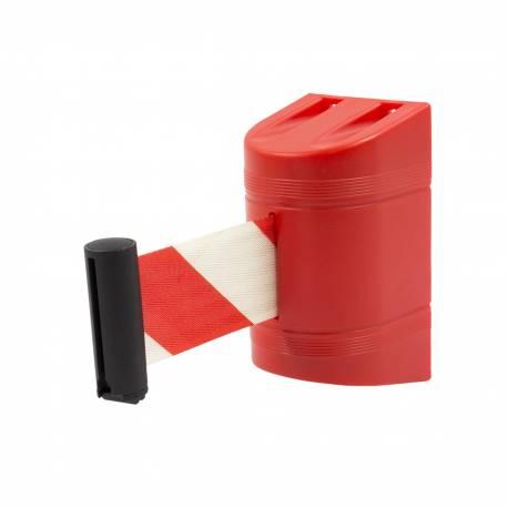 Cinta retractil de seguridad roja y blanca con soporte de pared