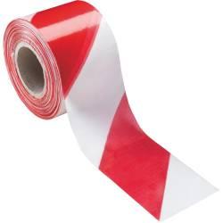 Cinta de plastico blanca y roja