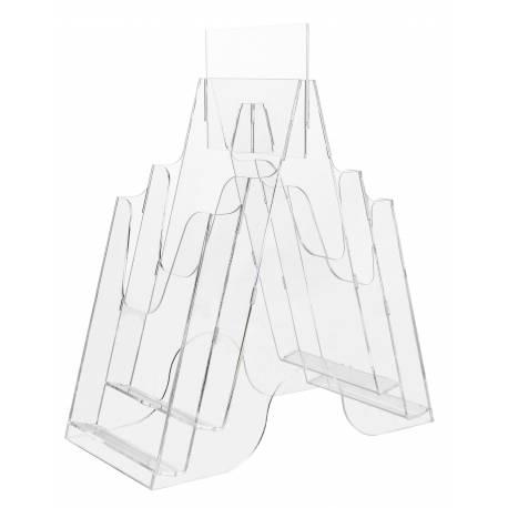 Portafolletos doble cara para 10x21 cm con 4 cajetines