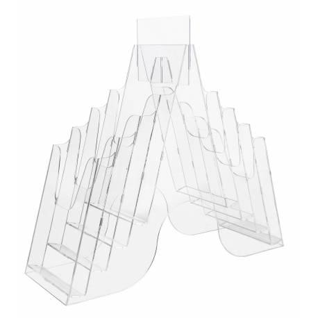 Portafolletos doble cara para 10x21 cm con 8 cajetines